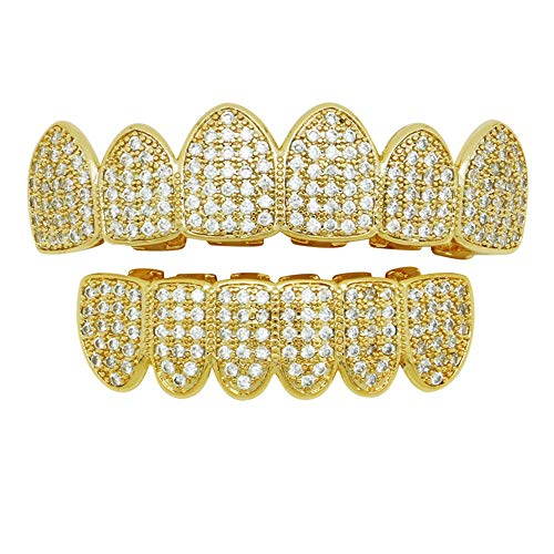 False Teeth Unisex Hip Hop Teeth Grills Top and Bottom Plated Gold Teeth Grills Set Metal Jewelry for Holleween Gift Teeth Grillz Cool Tooth Decoration (Color : -