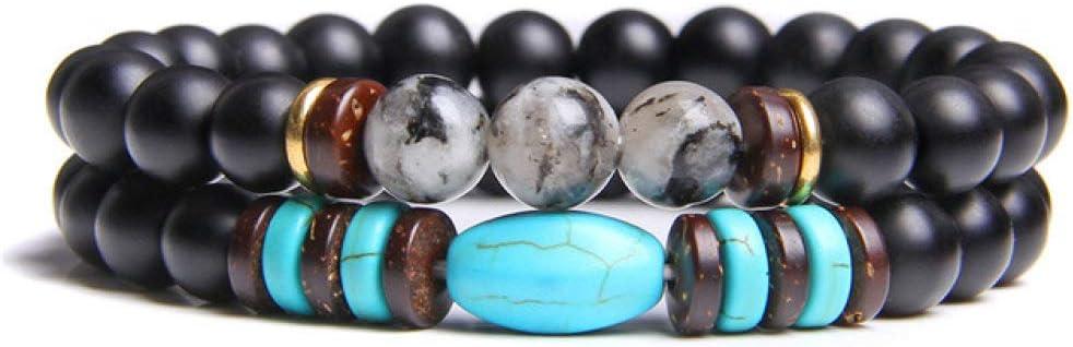 Pulsera de piedra con cuentas de ónix negro natural de 8 mm unakita turquesa para mujeres y hombres