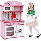 Deluxe Wooden Kitchen Toy, Spark Kids' Imagination, Pretend Kids Children Role Play Set with Accessories by Oye Hoye - Pink