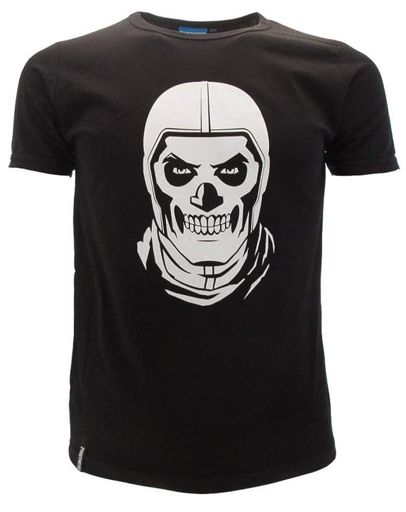 Epic Games T-Shirt Originale Fortnite Skull Trooper Maglia Nera Maglietta Bambino Ragazzo