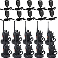 Retevis H-777 Walkie Talkie 16CH UHF 400-470MHz with Earpiece 2 Way Radio Handheld Ham Amateur Radio(10 Pack) and Speaker Mic (10 Pack)
