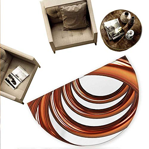 (Abstract Half Round Door mats Helix Coil Curved Spiral Pipe Swirled Shape on White Backdrop Print Bathroom Mat H 55.1
