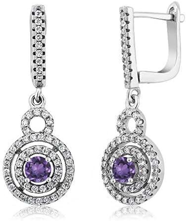 1.46 Cttw 925 Sterling Silver Genuine Purple Amethyst Gemstone Birthstone Women's Dangle Earrings