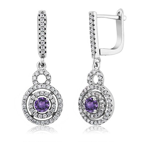 Gem Stone King 1.46 Cttw 925 Sterling Silver Purple Amethyst Gemstone Birthstone Women's Dangle Earrings