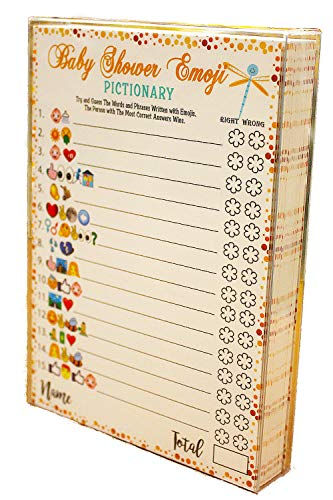 Baby Shower Games - Emoji Pictionary Cards, Fun Guessing Game for Girls Boys Babies Gender Neutral Ideas Shower Party, Prizes for Game Winners, Favorite Adults Games for Baby Shower Favors Activities -