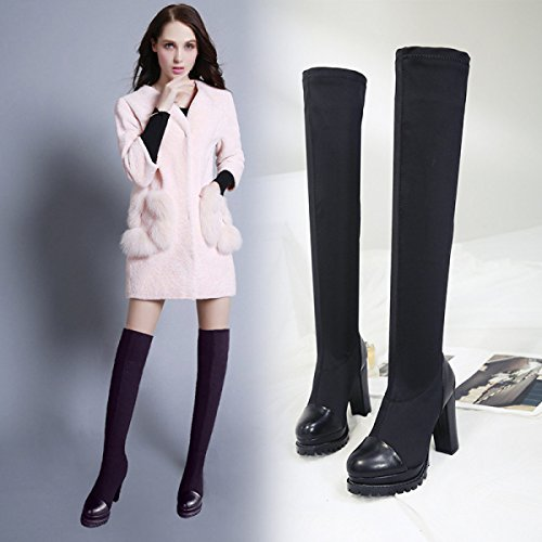 Black Women Leather For Thin and Heel Women's Knee Boots With Fashion High Boots JWQWQ qT7wO8S