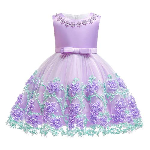 Lace Toddler Dress Christmas Children Holiday Clothes Tea Length Sleeveless Cute Dance Dresses Toddler Little Baby Girl Dress Purple 18-24 Months -