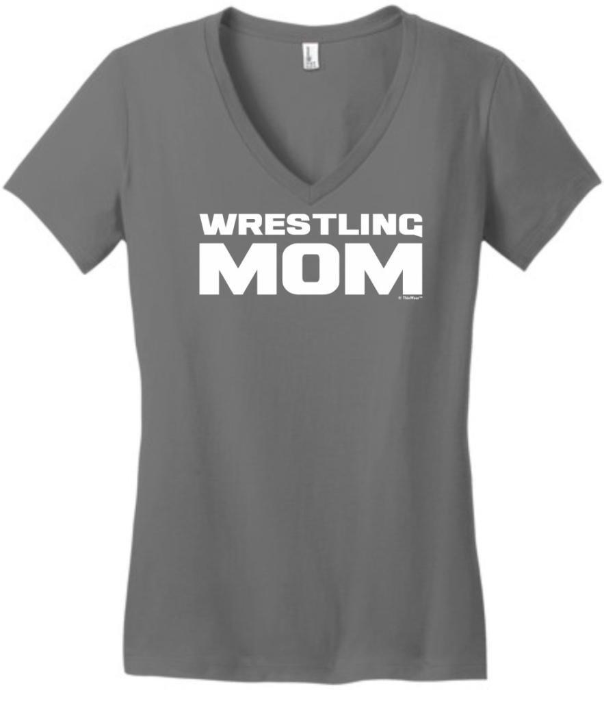 Wrestling Mom, Proud Sports Team Mother Juniors V-Neck XXX-Large Grey