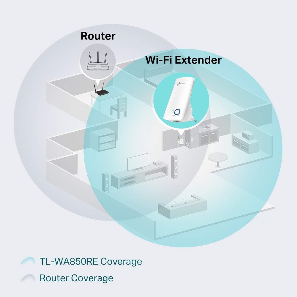 TP-Link N300 Tl-WA850RE - Repetidor Extensor de Red WiFi (2.4 GHz, 300 Mbps, Puerto Ethernet, Modo Ap y Extensor, Antenas Internas), Blanco