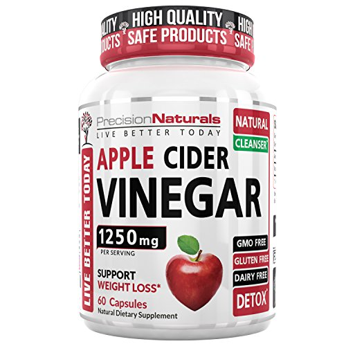 Apple Cider Vinegar Capsules Detox Supports Weight Loss Natural Cleanser 60 Pills Non GMO Supplement USA Made Vegan Gluten Free Pure ACV 1250mg Digestion Metabolism & Healthy Blood Sugar Support