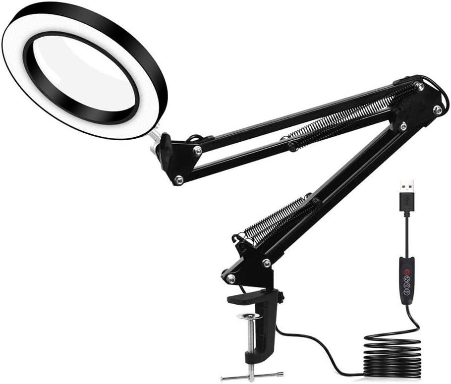 Moshbu Lámpara de Plegable Lupa LED, Lámpara LED de Aumento, 3 Modos de luz y 10 Niveles de Brillo LED Ring Light, 60 Piezas SMD LED, Lente de 4 Pulgadas de Diámetro (