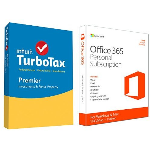 TurboTax Premier 2015 Federal + State Taxes + Fed Efile Tax Preparation Software - PC/Mac Disc with Microsoft Office 365 Personal 1 Year | PC or Mac Key Card