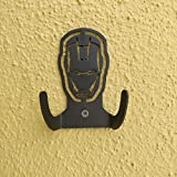 HeavenlyKraft Ironman Logo Steel Wall Hook Dual Holder for Living Room Coat Hat Robe Hanger Bathroom Towel Kitchen Strong Heavy Duty Garage Storage Organizer Utensil Hook Single, 4 X 3.14 X 1.4 Inch