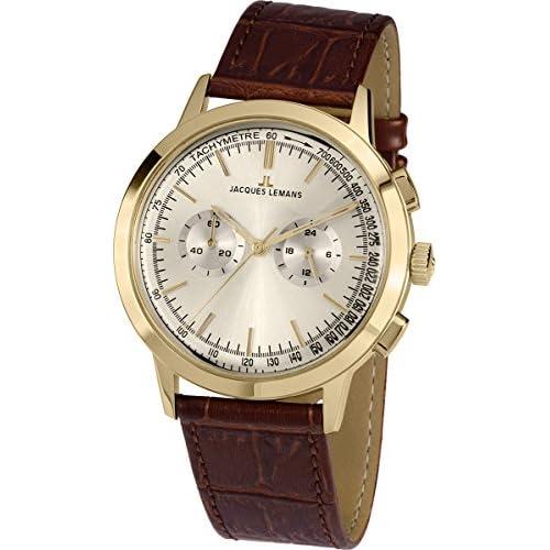 chollos oferta descuentos barato JACQUES LEMANS Nostalgie N 1564B Reloj de Cuarzo para Hombre Correa de Piel Color marrón