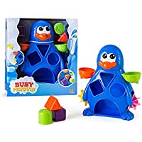 A EduKid Toys Busy Penguin Baby Bath Toy - Shape Sorter & Water Wheel Action Bath-time Toy by
