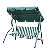 Cheap Canopy Awning Porch Swings Bench, Outdoor Chair for Two or Three, Green and White Strip