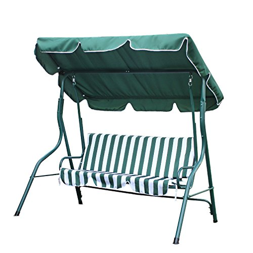 Canopy Awning Porch Swings Bench, Outdoor Chair for Two or Three, Green and White Strip