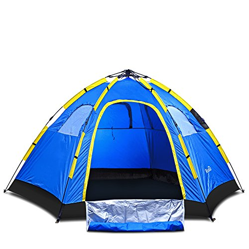 Instant Family Tent – 6 Person Large Automatic Pop Up Waterproof for Outdoor Sports Camping Hiking Travel Beach with Zippered Door and Carrying Bag in Blue