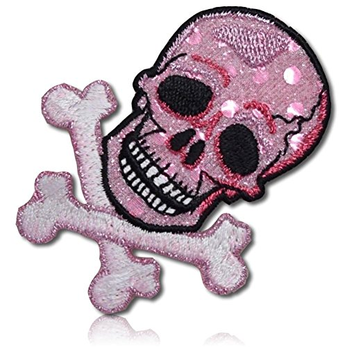 """[1 Count Single] Custom and Unique (2.3"""" x 2.8"""" Inch) """"Novelty"""" Sparkling Sequin Skull & Crossbones Jolly Roger Pirate Flag Emblem Design Iron On Embroidered Applique Patch {White, Black, & Pink}"""