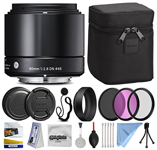 Sigma 60mm F2.8 DN Art Black Lens for Sony E-Mount NEX (350965) Includes 3 Piece Filter Set (UV-CPL-FLD) + Deluxe Cleaning Kit + Air Dust Blower + Cap Keeper Prints