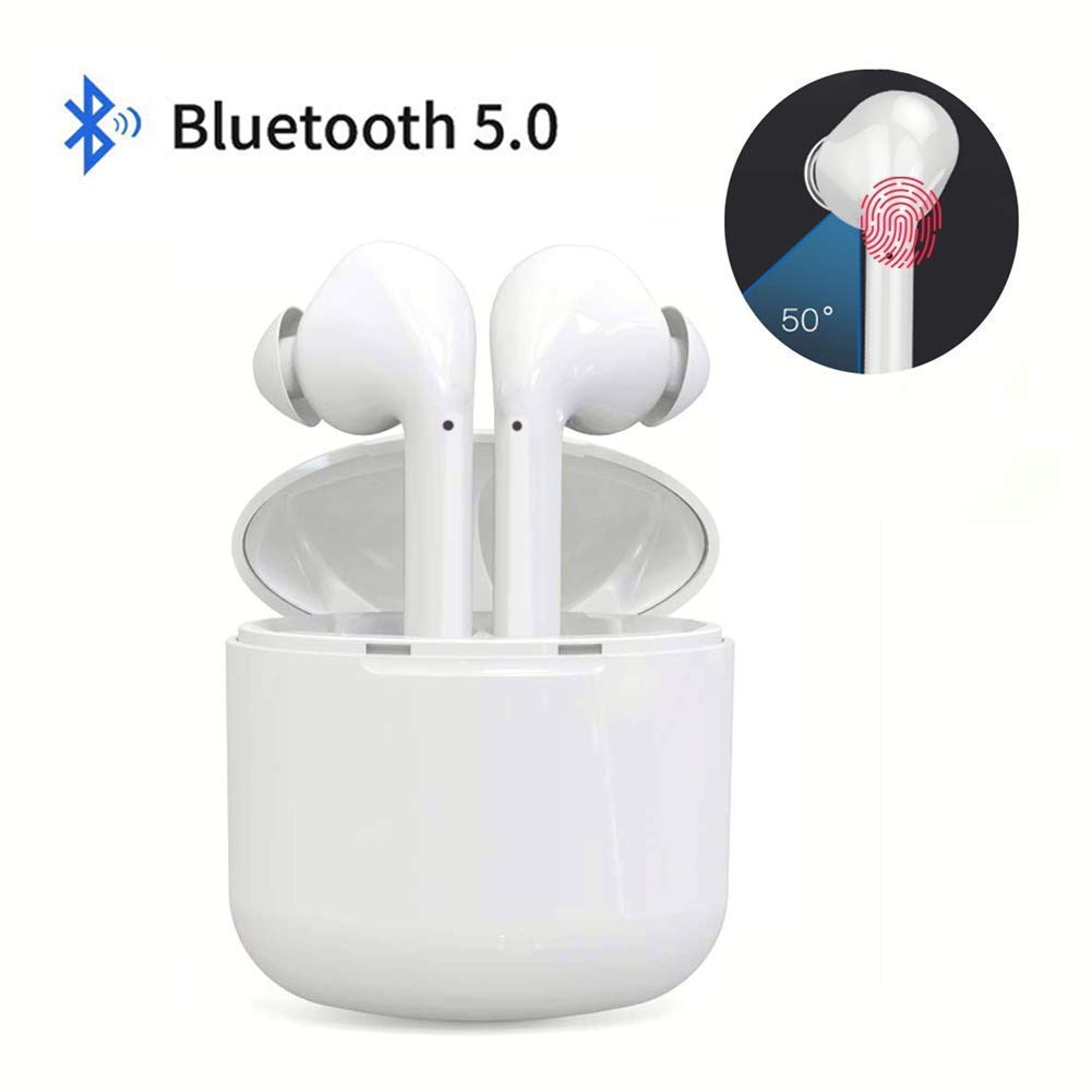 Wireless Headset Bluetooth Earbuds Headphones Bluetooth 5.0 Hands-Free Calling Earphones Sport Driving Earbuds Built-in-Mic Charging Case Compatible Airpods Android Smartphones White