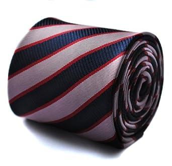 Frederick Thomas azul marino, rosa y rojo corbata a rayas y firma ...