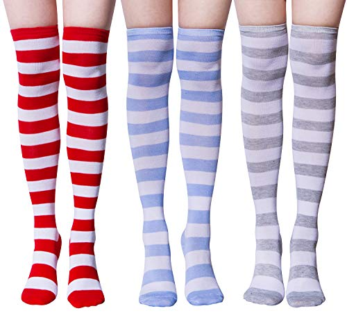 Chalier 2/3 Pairs Women's Knee Long Stockings Over Knee Thigh High Cosplay Striped Rainbow Socks from Chalier