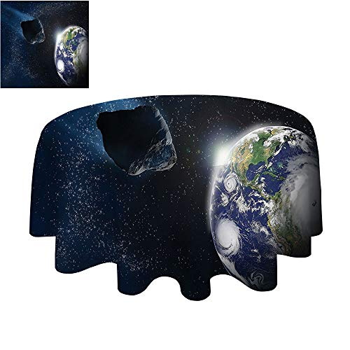 SATVSHOP Round Polyester Tablecloth-50Inch-Indoor Outdoor Camping Picnic Circle Table Cloth.Galaxy Attack of The Asteroid ocky Body Comet on Planet Earth Meteor Shower Display Dark Blue Grey. ()