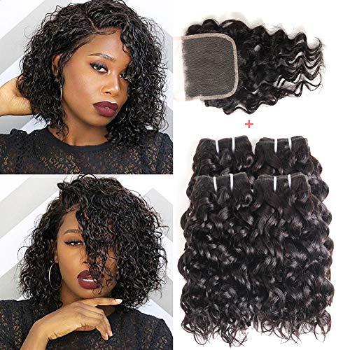 Water Wave Bundles With Closure, UDU Malaysian Human Hair Bundles Wet and Wavy Human Hair Cheap Bundles 50G/PC