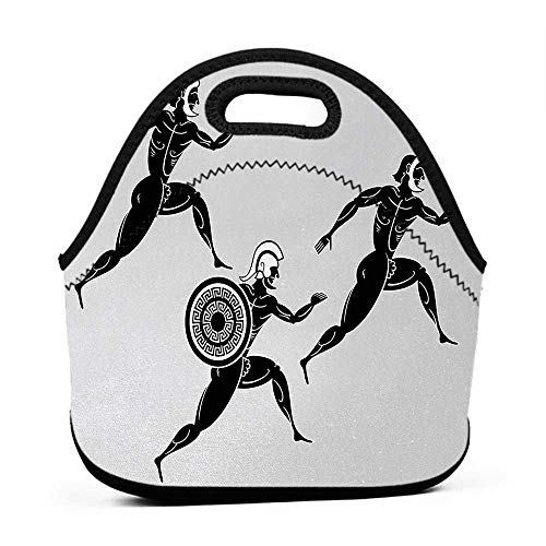 Convenient Lunch Box Tote Bag Toga Party,Historical Ancient Spartan Runners Antique Body Heritage Illustration,Pale Grey Black,artic lunch bag for men
