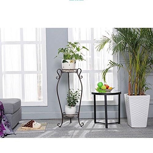 Acornfort 2/ripiani ferro casa giardino piante vasi vasi di fiori indoor rack Flower supporto bronzo