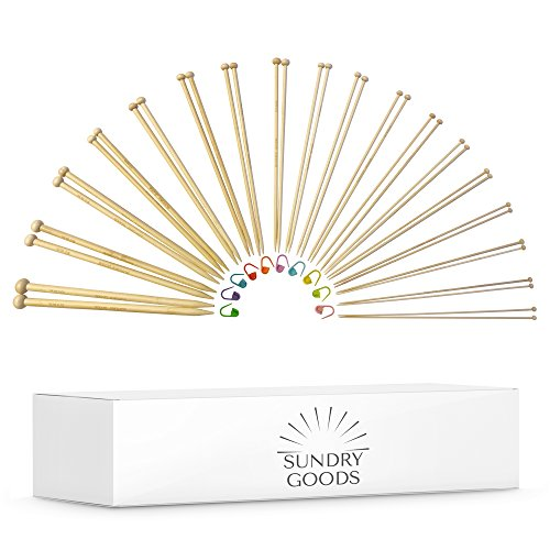 Knitting Needles Set - Bamboo Wood - Straight Single Pointed Kit of 36 Wooden Needles (18 Pairs) of Sizes 2mm - 10mm (US Sizes 0-15) - 25cm Long - Great Hand Knitting for All Yarns - By Sundry Goods (Straight Knitting Set Needle)