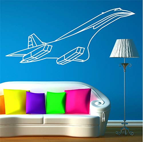 Concorde Jet (wuyyii Environmental Curved Vinyl Concorde Jet Aerpplane Wall Sticker for Kids Boys Room Art Home Decal Wall Mutal DIY Decoration 35X80Cm)