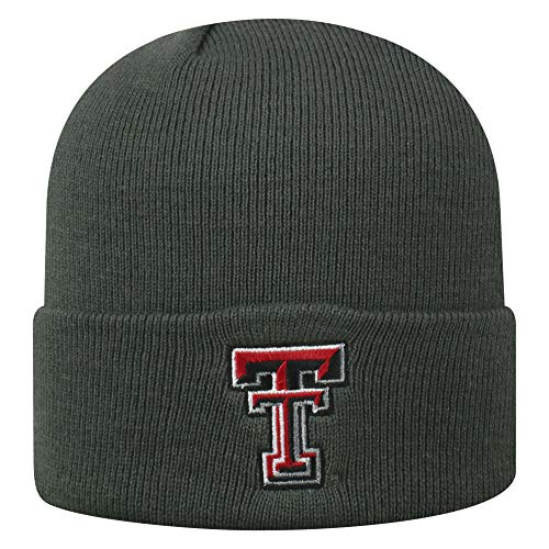 Top of the World NCAA Texas Tech Red Raiders Men's Winter Knit Cuffed Charcoal Hat, Charcoal