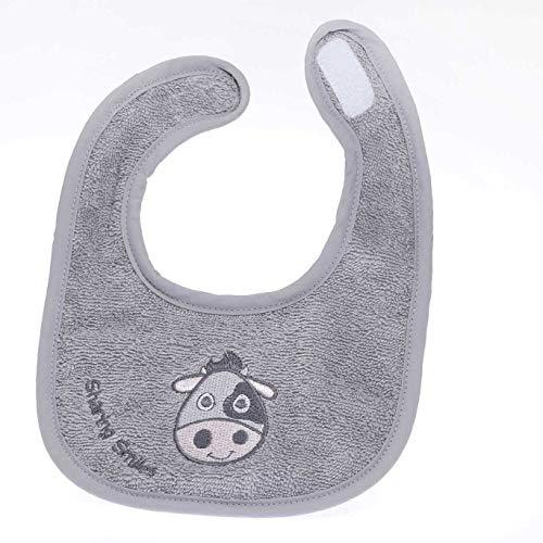 Baby Drool Bib – Soft 100% Organic Terry Cotton, Easy Fastening Strap, Highly Absorbent & Gender Neutral Grey – for Girls, Boys, Newborns, Teething, Feeding & More