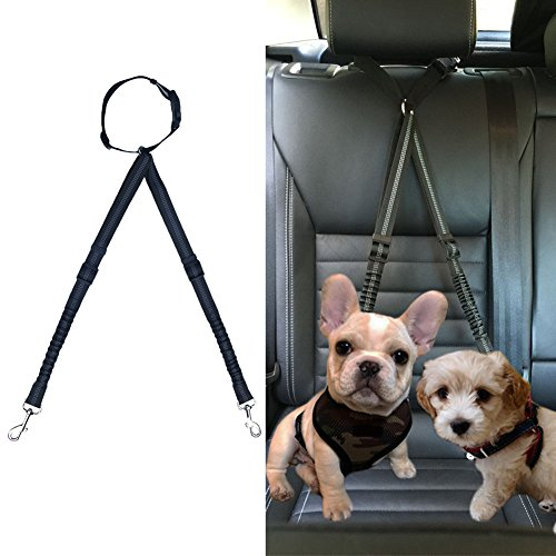 Dog Car Safety Seat Belt Strap Headrest Restraint Adjustable Nylon Fabric Leads Double Pet Vehicle Seatbelt Travel Bungee Reflective Leash for Two Dogs