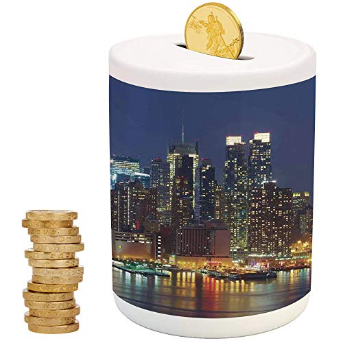 New York,Money Bank for Kids,for Party Decor Girls Kid's Children Adults Birthday Gifts,NYC Midtown Skyline in Evening Skyscrapers Amazing Metropolis City States -