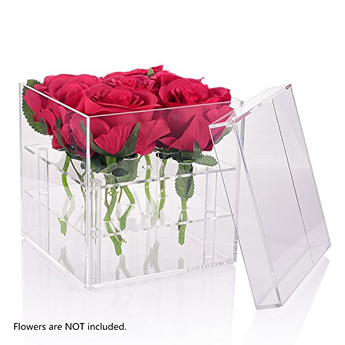 Wefond Clear Acrylic Flower Box Water Holder Vase Decorative Square Rose Pot Wedding Flower Gift Box Makeup Organizer, 9 Holes