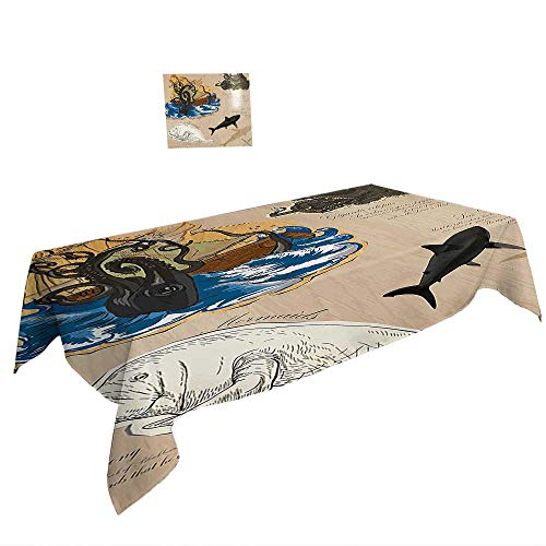 Rectangular Table Cloth for Foot Table in Washable Polyester W54 x L72 INCH,Natural Cave Decorations Water Eroded Reed Flute Cave Chinese Cistern Rain Harvest with Lights Artsy Photo Multi. ()