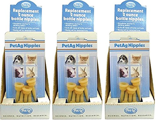 15-Pack PetAg 2-Ounce Elongated Nipples (3 Packages with 5 Nipples each)
