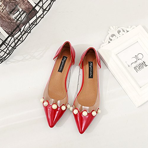 Giunetta Donna Fashion Mocassino Mocassino Flat Slip-on Comfort Glitter Mary Jane Dress Ballerine Rosse
