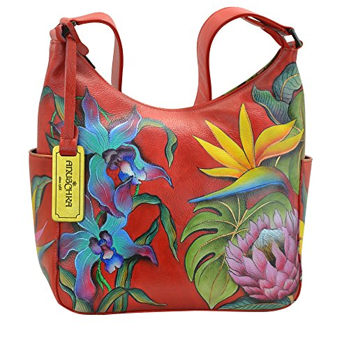 Anuschka Women's Genuine Leather Handbag | Hand Painted Original Artwork | Classic Hobo With Side Pocket | Island Escape