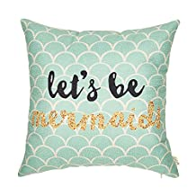 "Fjfz Let's Be Mermaids Motivational Sign Inspirational Quote Cotton Linen Home Decorative Throw Pillow Case Cushion Cover for Sofa Couch, 18"" x 18"""
