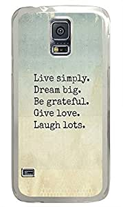 Samsung S5 most protective case Life Quotes Live Simply PC Transparent Custom Samsung Galaxy S5 Case Cover