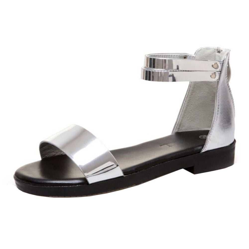 TAOFFEN Damen Flach Sandalen Sommer Schuhe  37 EU|Silver