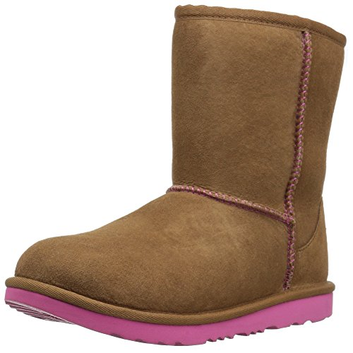 UGG Kids K Classic II Boot, Chestnut/Pink Azalea, 4 M US Big Kid (Classic Ugg Chestnut Kids)