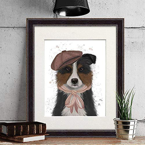 Scottish Sheepdog - Border Collie in hat Pink Scarf - Collie Dog Painting Border Collie Print Cute Dog Gift for Girlfriend Tricolor Dog Art Frame