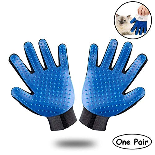 - Ootori Pet Grooming Glove - Gentle Deshedding Brush Glove - Efficient Pet Hair Remover Mitt - Enhanced Five Finger Design - Perfect for Dog & Cat with Long & Short Fur - 1 Pair