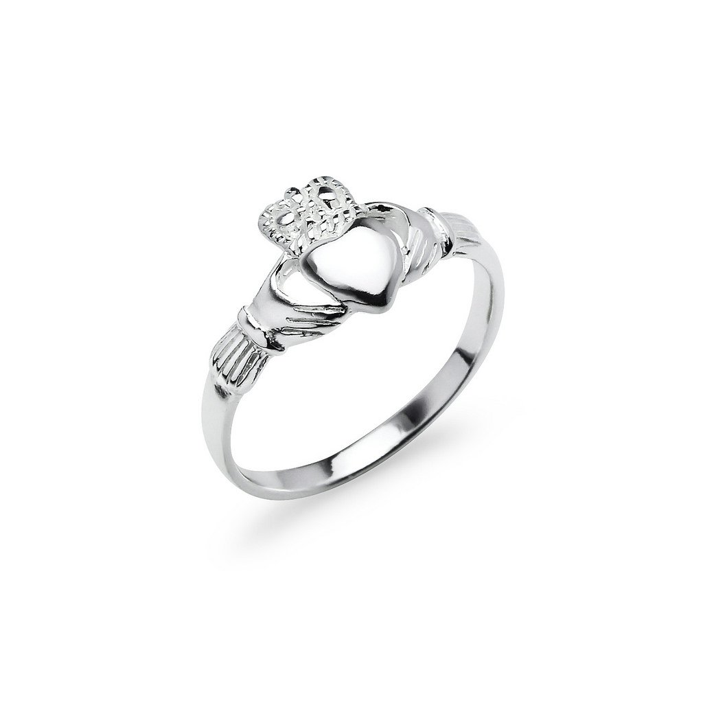 Claddagh Crown Love Heart Sterling Silver Band Ring, Irish Friendship Promise Ring Size 6