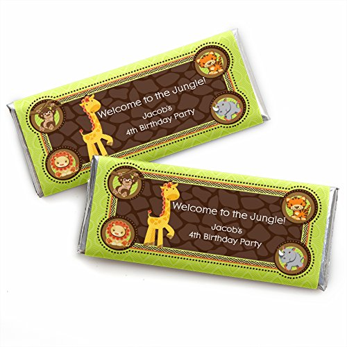 Custom Birthday Candy Bar Wrappers (Custom Funfari - Fun Safari Jungle - Personalized Baby Shower or Birthday Party Favors Candy Bar Wrappers - Set of)